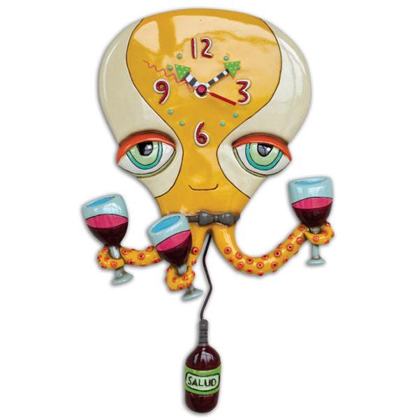 yellow octopus with three wine glasses and wine bottle pendulum