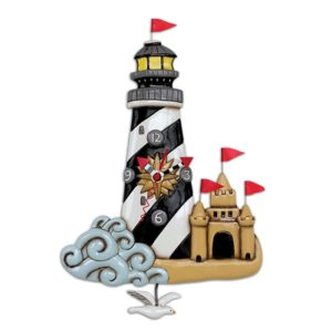 lighthouse and sand castle clock with sea gull pendulum