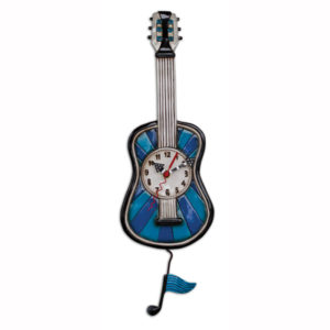 blue guitar clock with music note pendulum