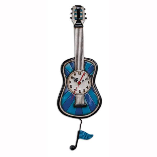 blue guitar clock with music note pendulum