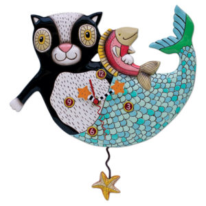 black and white cat with blue green mermaid tail holding pink fish and starfish pendulum