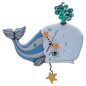 grey whale with turquoise water spout and starfish pendulum
