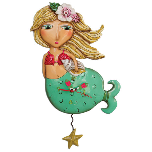 Blonde mermaid with green tail and starfish pendulum