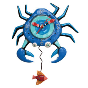 Blue crab clock with orange fish pendulum