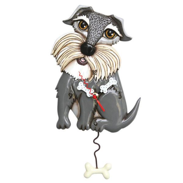 Grey Mini Schnauzer terrier with dog bone pendulum
