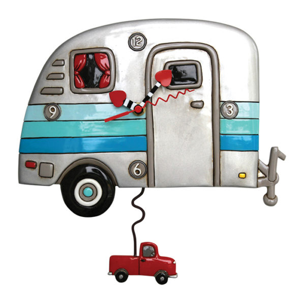 grey and turquoise camper clock with red truck pendulum