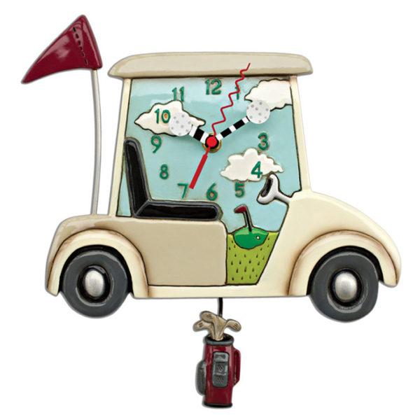 golf cart on golf course clock with golf bag pendulum