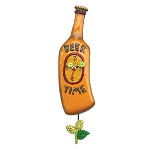 beer bottle clock with hops pendulum