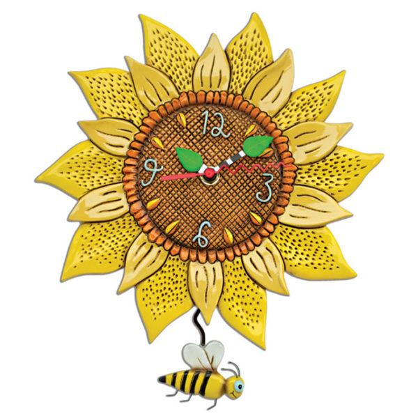 Sunflower clock with bee pendulum