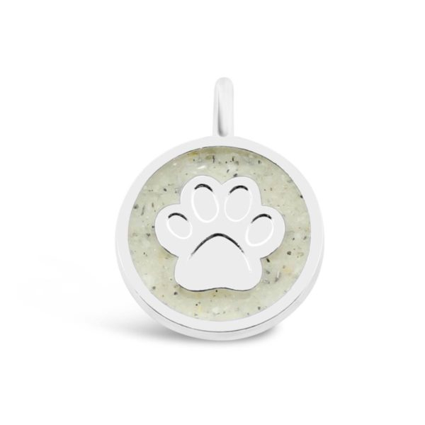 dog paw charm with sand handmade in the USA by dune jewelry