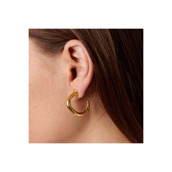 Gold plated hoop earrings in the shape of a nail, one of the distinctive elements of this San Valentine's Collection by UNOde50. A jewel that you can wear daily. Made in Spain by UNOde50 and 100% handmade way.