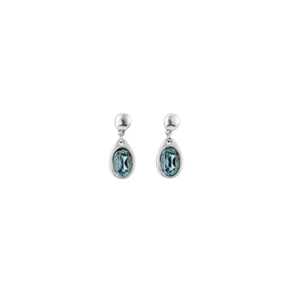 """Midi earrings in silver plated and a drop-shaped SWAROVSKI® crystals in """"Indian Safire"""" blue color. A jewel that you can wear daily and at special dates. A piece elaborated in Spain by UNOde50 and 100% handmade way."""