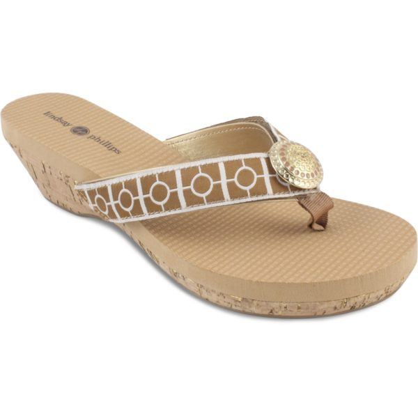 Yoga Lynne tan sole with gold and tan strap and gold button switch flops by lindsay phillips