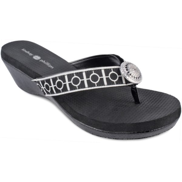 """Yoga Lynne Black Snake Patent 1-3/4"""" molded platform wedge with yoga mat footbed. Comfortable soft ribbon toe thong with black and white strap and silver button switch flops by lindsay phillips"""