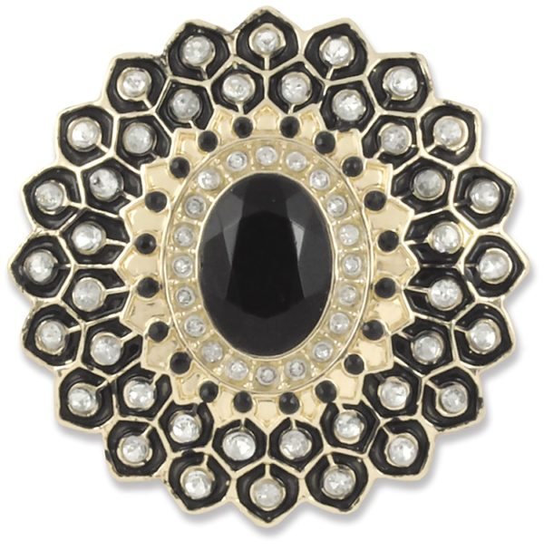 The Fancy Snap is a gold base with black oval center crystal surrounded by clear crystals and black enamel. lindsay phillips switch flops