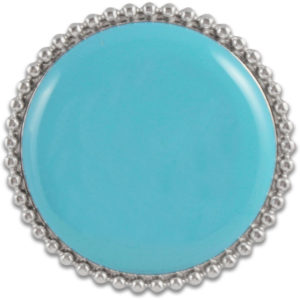 The Leila Snap is a round scuba blue domed snap with a silver trimmed base. Perfect for monogramming.