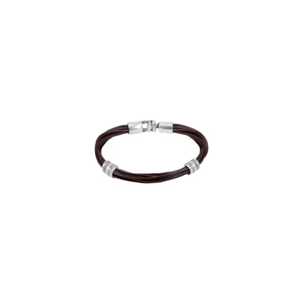 Man and woman leather bracelet featuring two washers and a clasp in silver-plated metal alloy.