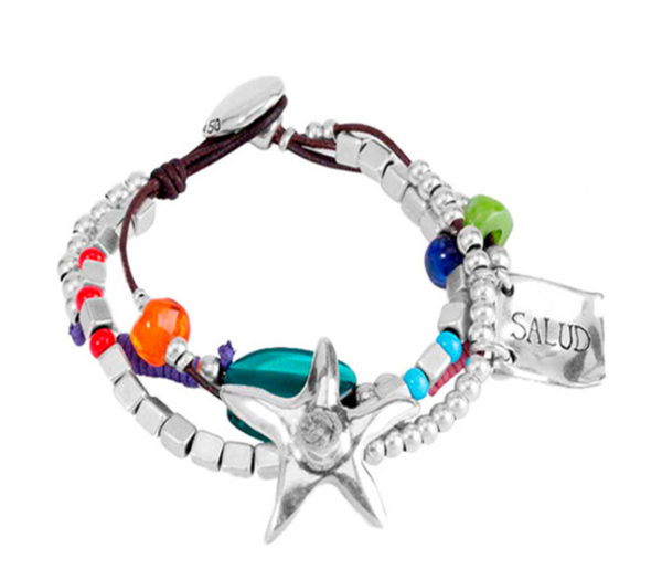 leather and silver starfish and multicolored stones by uno de 50
