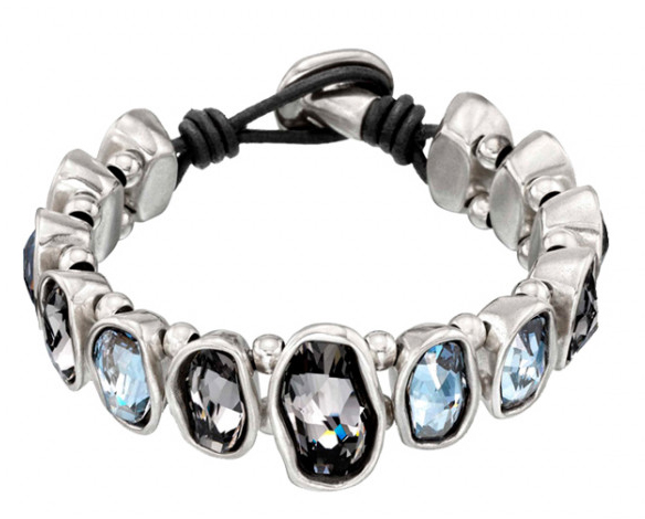 living la vida loca bracelet by uno de 50 Bracelet with blue and smoke Swarovski®Elements crystals set in silver-plated metal. Characteristic of UNOde50, 100% handmade in Spain.