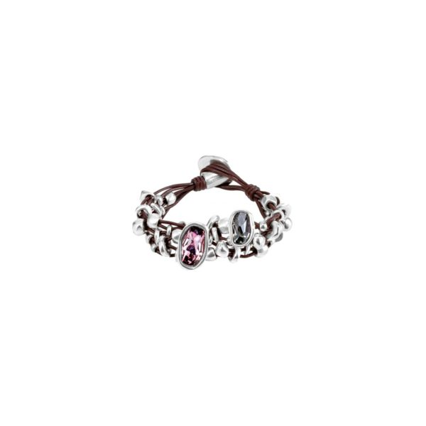 Bracelet with pieces of brown leather, silver-plated metal beads and grey and pink Swarovski®Elements crystals. Characteristic of UNOde50, 100% handmade in Spain.