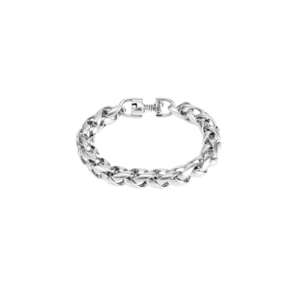 Men's bracelet with interwoven rounded links. Characteristic of UNOde50, 100% handmade in Spain.