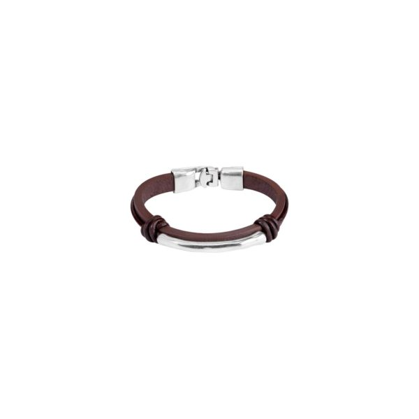 Brown leather man's bracelet with two knots and a silver-plated metal tube in the centre. Hook fastening.