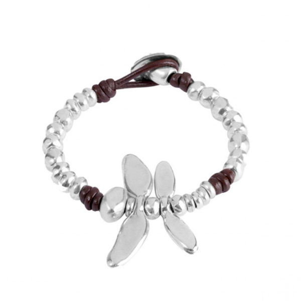 leather and silver bracelet with dragonfly in center by uno de 50