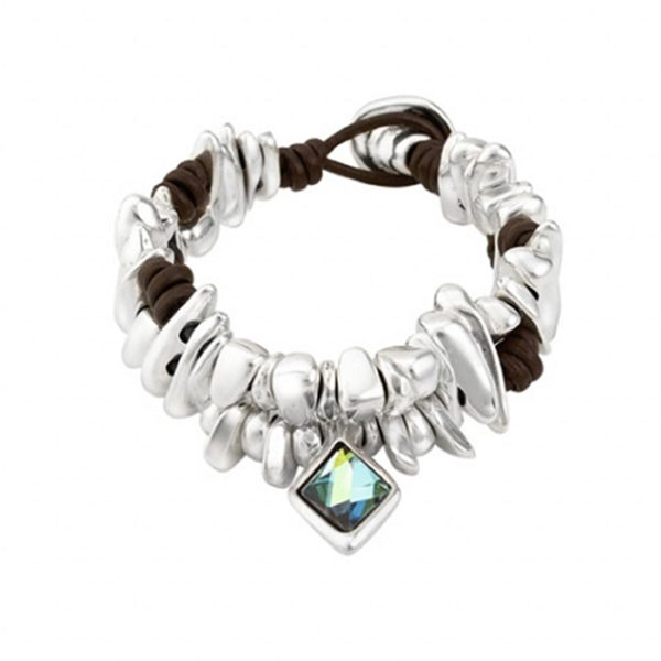 leather and silver bracelet with blue and green swarovski crystal in center by uno de 50