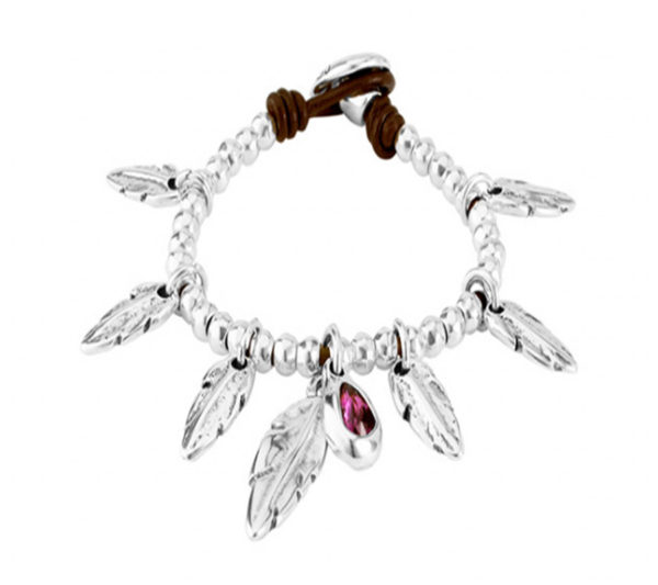 leather and silver bracelet with dangling feathers and purple stone by uno de 50