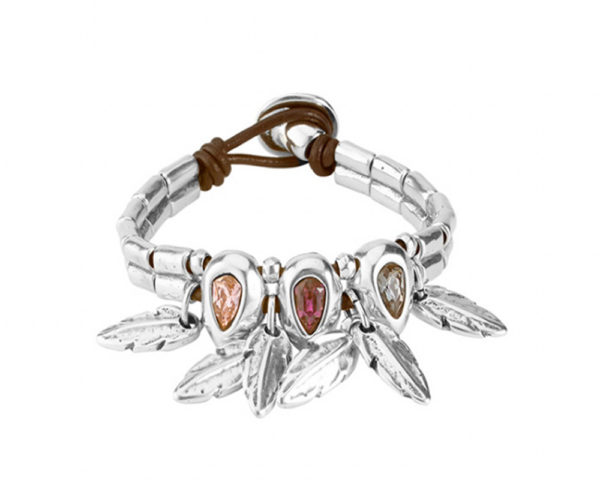 leather and silver bracelet with three stones in champagne red and green and dangling silver feathers by uno de 50