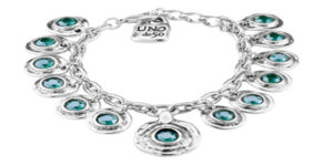 Tizoc silver Bracelet with swarovski blue stone accents handcrafted in spain by UNO de 50