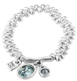 "Bracelet composed of drop shaped silver plated pieces with two centrals SWAROVSKI® crystals in ""Indian Safire"" blue color, all in silver plated. An exclusive jewel for a sophisticated woman. Made in Spain by UNOde50 and 100% handmade."