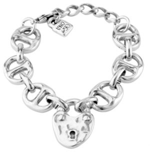 Silver plated bracelet composed of several links and a central heart shaped padlock, one of the distinctive elements of San Valentine's Day Collection by UNOde50. Made in Spain by UNOde50 and 100% handmade way. Only sale online.