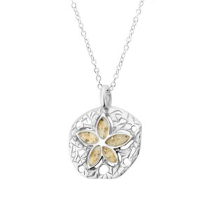 sand dollar necklace with sand handcrafted in the USA by dune jewelry