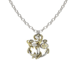 two tone Treasure Anchor Slider with Chain