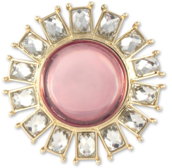 Britta Snap Pink center stone with crystal rectangle stones border.