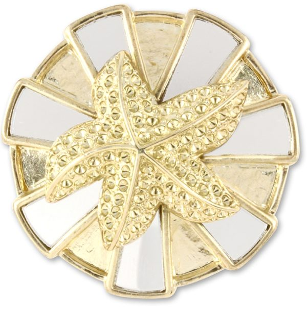 Serafina Snap Rectangle mirrored stones in circular formation with gold starfish overlay.
