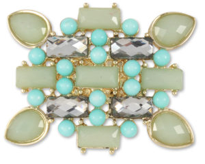 Solana Snap Rectangular seafoam/blue stone snap on gold base