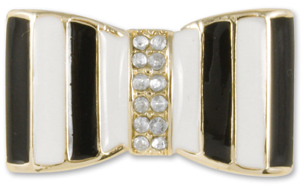 Tiana Snap Black and white enamel bow with crystal center on gold base.