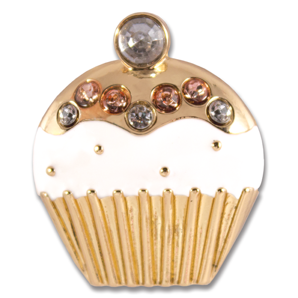 Cupcake Snap White enamel with pink stones on gold base switch flops by lindsay phillips