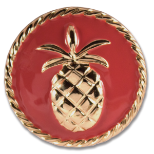 Dylan Snap Coral enamel with gold pineapple and base switch flops by lindsay phillips