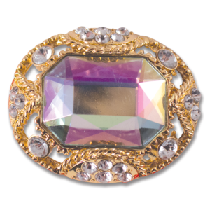 Princess Snap Green iridescent stone on gold oval base switch flops by lindsay phillips