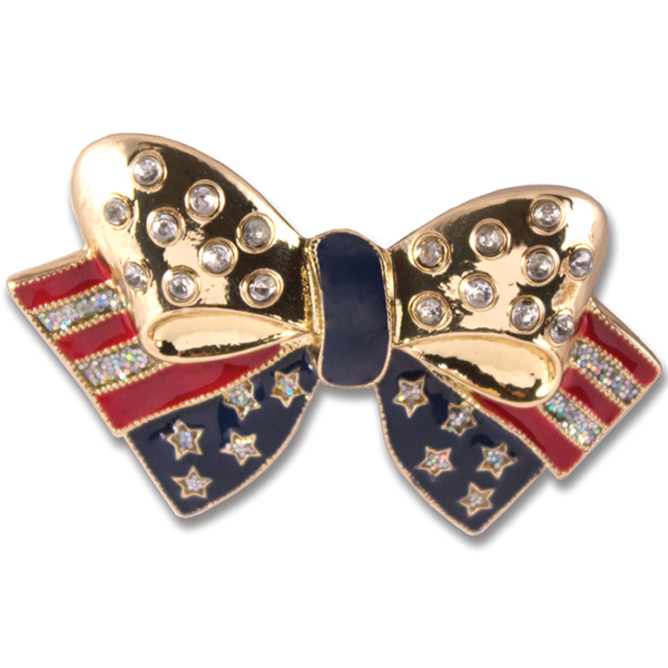 Starry Snap Americana bow with crystals and glitter on gold base switch flops by lindsay phillips