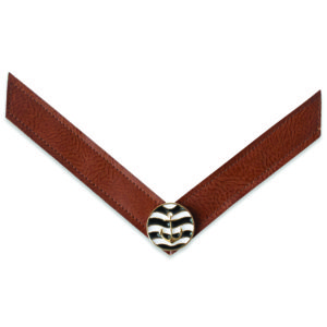 The Stella strap is a cognac reptile leather like strap with a black and white anchor ornament.