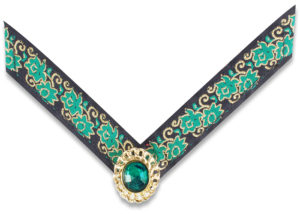 Emery Navy strap with green and gold scroll work and gold trimmed green stone