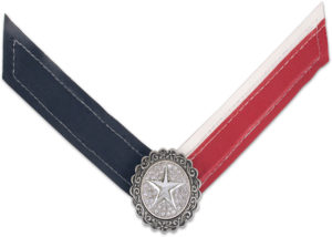 Eris Strap left side navy right side red and white with silver star center