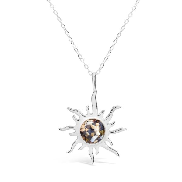 sunburst necklace with sand handmade in the USA by dune jewelry