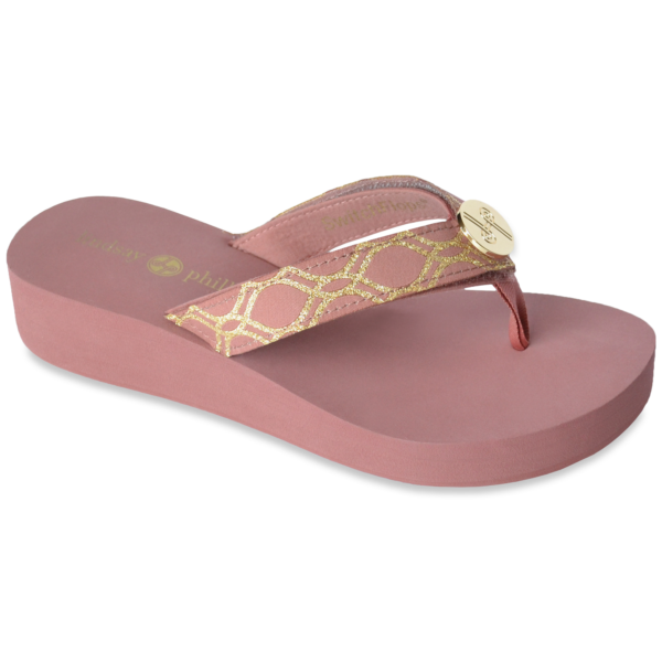 The Taylor-Tu Dusty Rose is an updated version of our 1 1/2″ classic EVA flip flop with soft ribbon thong and a Dusty Rose and Gold strap with a gold LP logo ornament.