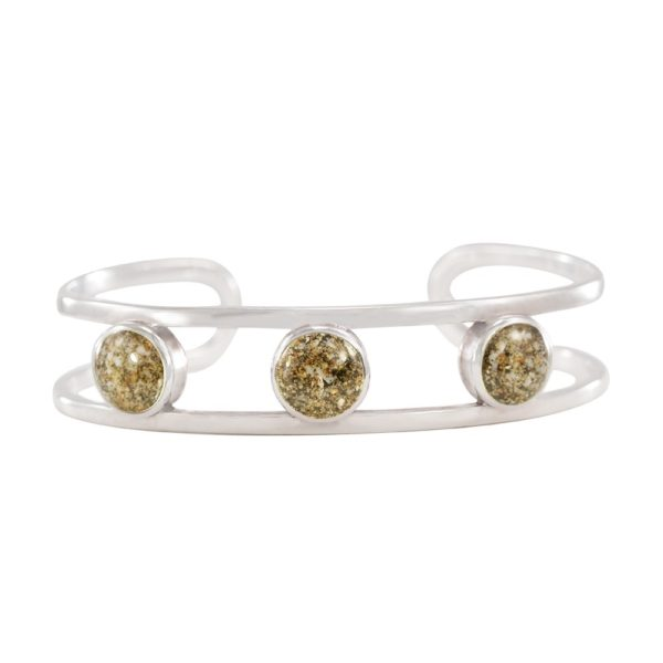 triple sand globe cuff with sand handmade in the USA by dune jewelry