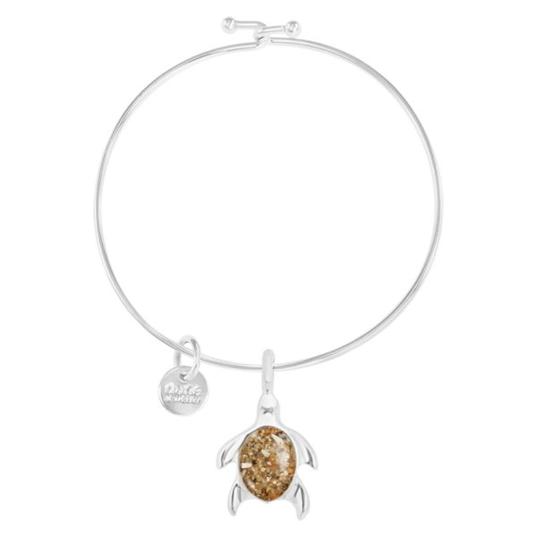 turtle charm bangle bracelet handmade in the USA by dune jewelry